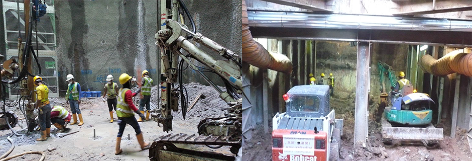 vertical drilling and excavation